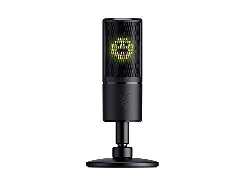Razer Seiren Emote - USB Kondensator-Mikrofon für Streaming mit Emoticon Display (8-Bit-LED-Display, Stream-Reaktiv, Hyperkardioid Mikrofon, Schockdämpfer, Plug & Play) Schwarz