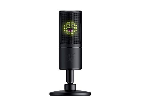 Razer Seiren Emote - USB Kondensator-Mikrofon für Streaming mit Emoticon Display (8-Bit-LED-Display, Stream-Reaktiv, Hyperkardioid Mikrofon, Schockdämpfer, Plug & Play) Schwarz