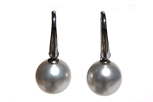 Pendientes con perla del mar del Sur blanca de 13 mm con gancho de oro blanco de 18 quilates.