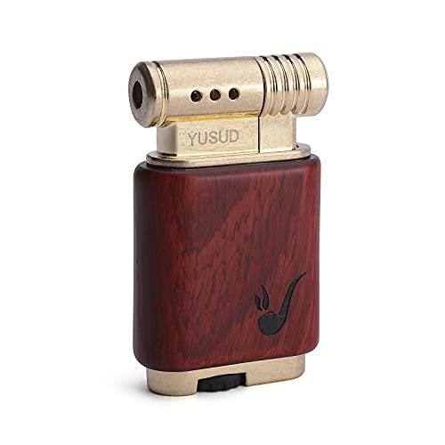 Yusud Vintage Trench Lighter, Cool Pipe Lighter Butane Refillable, Antique Cigarette Lighter with Wooden Case, Retro Soft Flame Cigar Flip Table Lighters, Unique Birthday Gift for Men Women