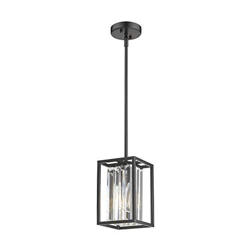 Osimir Modern Crystal Pendant Lighting Kitchen Island, Farmhouse Pendant Light Fixtures in Black Finish, Adjustable Length, CH9181-1A