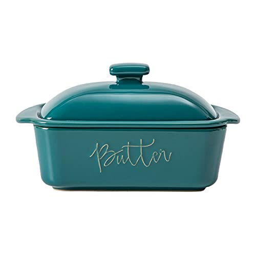 FE Butter Dish, 10 oz Caremic Butter Keeper with Water Line, Butter Boat, French Butter Dish with Lid for Countertop(Turquoise)