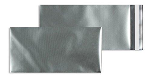 100 Stück, Farbige Folienumschläge, DIN Lang, Haftklebung mit Abziehstreifen, Gerade Klappe, 70 my Aluminisierte PP-Folie - matt, Ohne Fenster, Silber, Blanke Briefhüllen