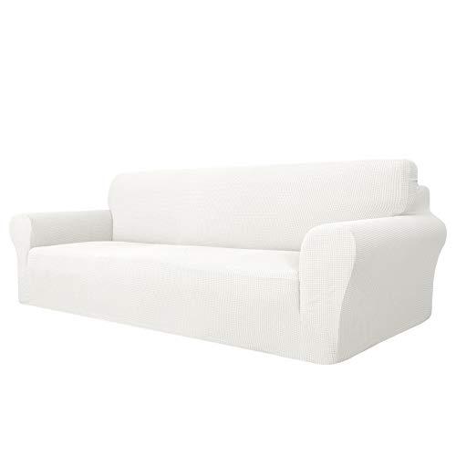 MAXIJIN Funda para sofá de 4 plazas superelástica extra grande Jacquard Pet Dog Furniture Protector de sofá ajustable (4 plazas), color blanco