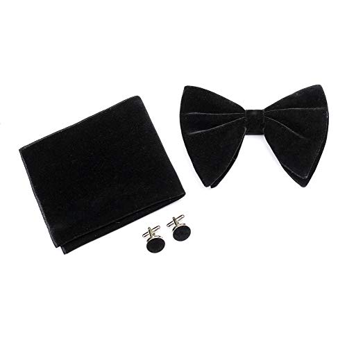 Black Velvet Oversized Bow Tie Cufflinks Hankie Combo Sets Mens Pre-Tied Big Bowtie Pocket Square Cufflinks