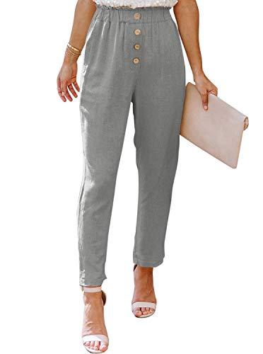 NIMIN Womens Casual Loose Pants Comfy Work Pants with Pockets Elastic High Waist Paper Bag Pants Light Grey Medium