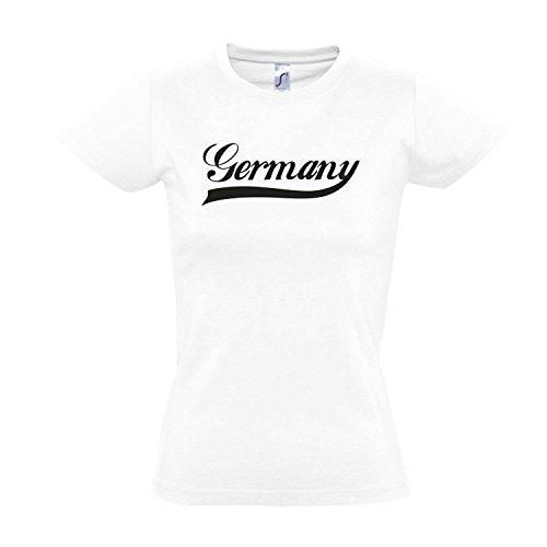 Damen T-Shirt - Deutschland Oldschool Germany LÄNDERSHIRT EM / WM FAN Trikot S-XXL , White - schwarz , L