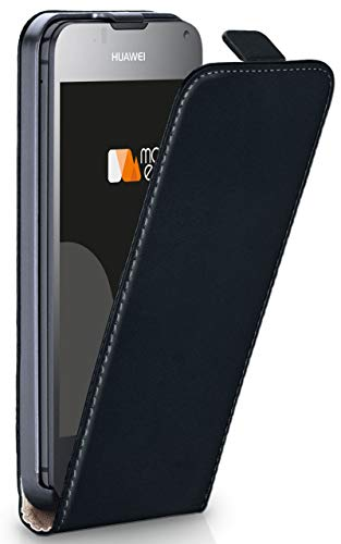 MoEx® Flip Case mit Magnetverschluss [R&um-Schutz] passend für Huawei Ascend Y300 | 360° Handycover aus feinem Premium Kunst-Leder, Schwarz