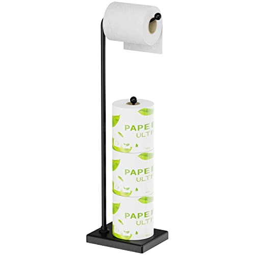 Toilet Paper Holder Stand, Veckle Free Standing Bathroom Toilet Paper Roll Holder with Reserve, Storage 4 Rolls Toilet Tissue Paper, Black Toilet...