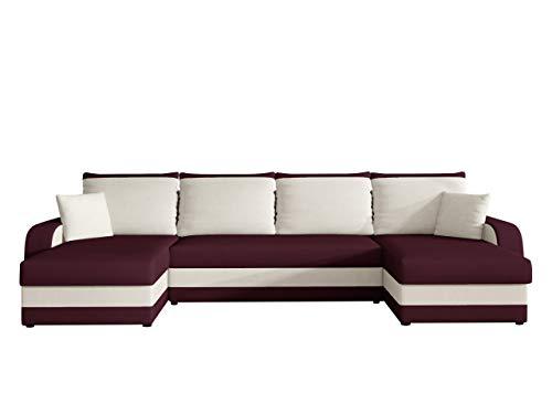Mirjan24 Ecksofa Kristofer U, Design Eckcouch Couch mit Schlaffunktion! DREI Bettkasten! Wohnlandschaft! Bettfunktion! U-Form Sofa! Seite Universal! Farbauswahl! (Alova 77 + Alova 71)