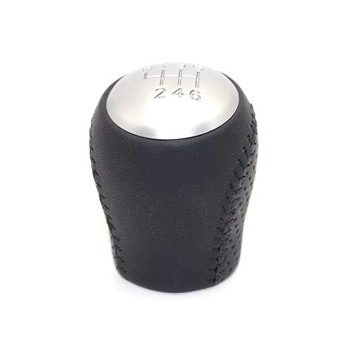 GCAWYYQG Palanca de Cambios de Coche de Plata y Cuero, pomo de Cambio de Marchas para Coche, Palanca, Cubierta de Bota Gaitor, para Nissan Juke 2009 a 2018