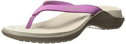 crocs Women's Capri IV Flip Flop, Wild Orchid/Stucco, 6 B(M) US