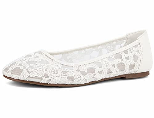 Greatonu Damen Geschlossene Ballerinas Brautschuhe atmungsaktiv Lace Flache Schuhe Weiß Größe EU 38/EU38.5