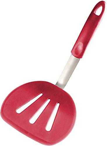 StarPack Premium Flexible Wide Silicone Turner Spatula - High Heat Resistant to 600°F, Hygienic One Piece Design, Non Stick Rubber Kitchen Utensil for Fish, Eggs, Pancakes, Cookies & more (Cherry Red