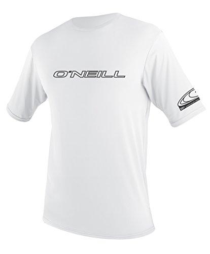 O'Neill Wetsuits Wetsuits UV Sun Protection Mens Basic Skins Short Sleeve Tee Sun Shirt Rash Guard, White, XX-Large