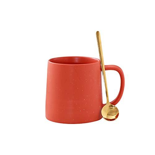 RZHIXR Taza De Cerámica De Color Puro, Taza De Gran Capacidad, Taza De Leche Doméstica Simple con Taza De Café con Cuchara 400ml