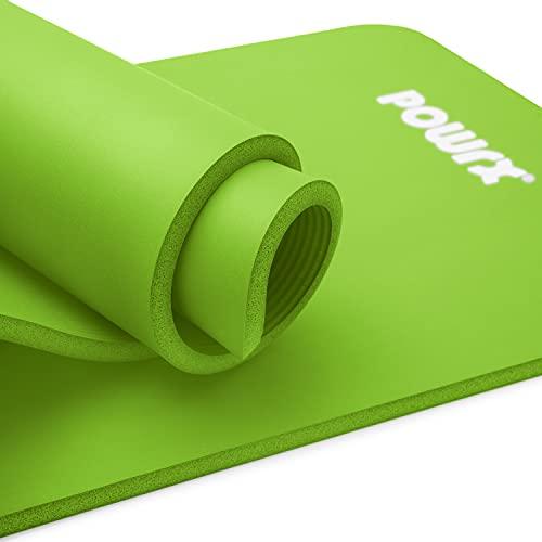 POWRX Tappetino Fitness 183 x 60 x 1,5 cm - Tappeto palestra ideale per Ginnastica, Yoga e Pilates - Ecocompatibile con Tracolla e Sacca Trasporto - Antiscivolo + PDF Workout (Green)