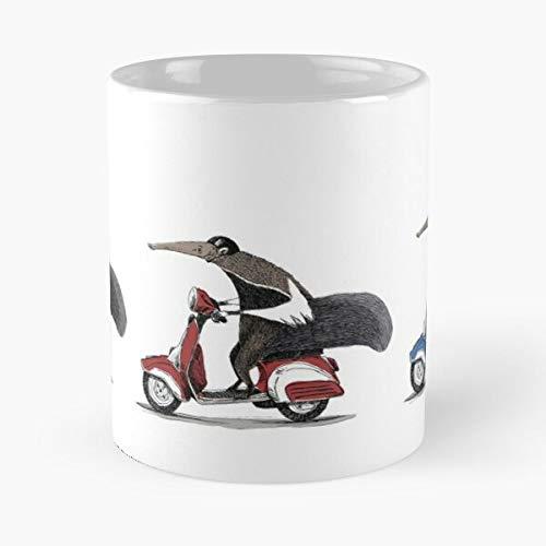 Anteaters on A Vespas - Taza de café de cerámica de mármol blanco I