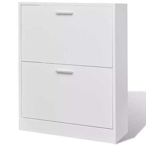 Cikonielf Gabinete de Zapatos con 2 Compartimentos 63,5 x 24 x 81 cm, Zapatero de Entrada Blanco Gabinete de Almacenamiento para 12 Pares de Zapatos