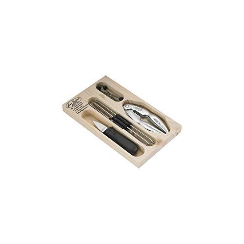 LAGUIOLE - Juego de Cubiertos para el marisco en Caja de Madera, 14 Piezas, Color Negro y Plateado