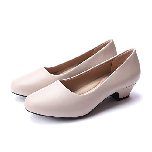 Women's Dress Pumps Low Heels - Formal White Wedding...