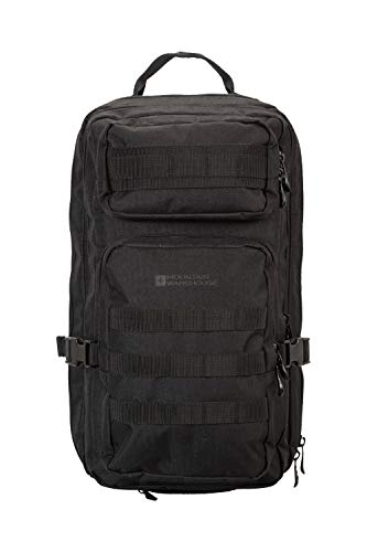Mountain Warehouse Legion 35L Backpack - Rain Cover Hiking Rucksack, Whistle Camping Daypack Black