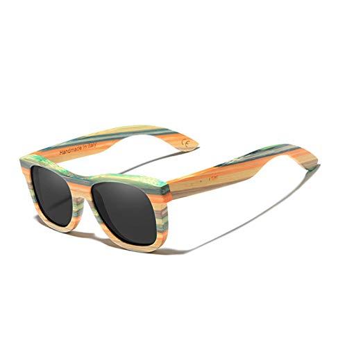 RHNTGD Retro Bambú Gafas De Sol Hombres Mujeres Espejo Polarizado Uv400 Gafas De Sol Marco Completo Sombras De Madera Gafas Handmade Hecho A Mano