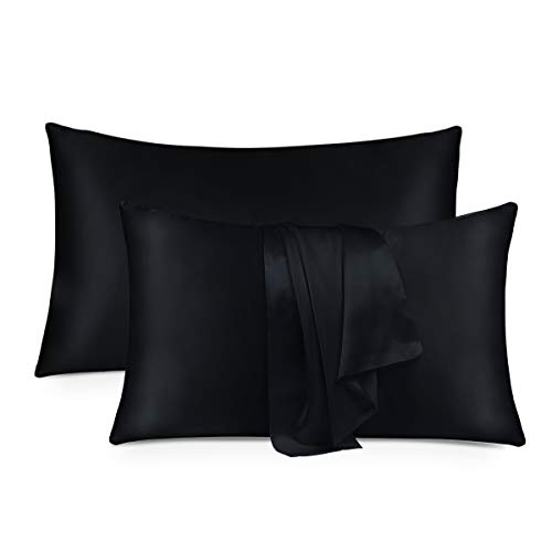 MTSNOO Silk Pillowcase King Size for Hair and Skin 22 Momme 100% Mulberry Silk Pillowcase Black Soft Breathable Both Sided Silk Pillow Cover 2 Pack
