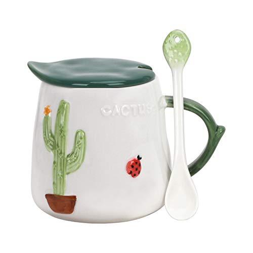 Keramik Kaffeetasse Kreativ Kaktus-Becher Wasserbecher mit Löffel und Deckel, Milch Kaffee Frühstückstasse Teebecher Kinder Cup Geschenktasse Weihnachtsbecher für Valentinstag Jahrestag- 470ML