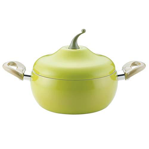 WJXBoos Pomodoro Forma Salsa Pan Smaltato Costo Zuppa Hot Pot Invidiossiina Acciaio Cucina Casalinga,Non-Bastone Alluminio Stockpot con Coperchio Verde Chiaro 2.6l