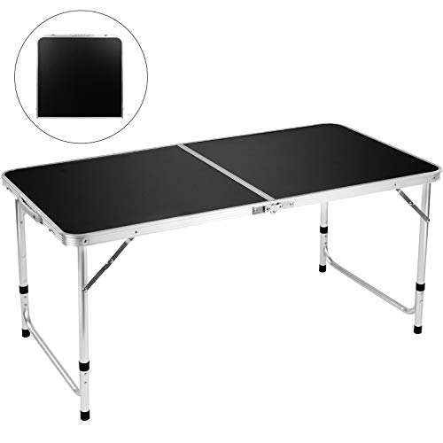"FiveJoy Folding Camping Table, 4 FT Aluminum Height Adjustable Lightweight Desk Portable Handle, Roll Up Top Weatherproof and Rust Resistant Table for Outdoor Picnic Beach Backyard, 47"" x 24"",Black"