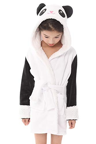 Dolamen Peignoir de Bain Filles Enfant Garçon Capuche Molleton Kigurumi Cartoon Chemises de Nuit Peignoir Kimono de Demoiselle d'honneur (140 pour la Taille 130-140CM (51'-55'), Panda)