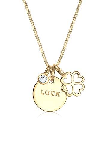 Elli Halskette Damen mit Kleeblatt Anhänger Glück und Swarovski® Kristalle in 925 Sterling Silber vergoldet