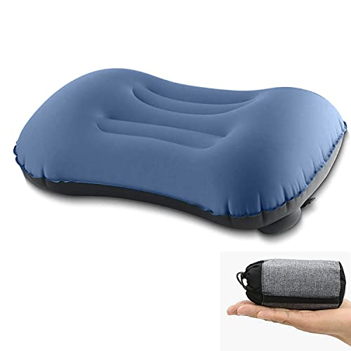 Almohada Inflable Ultraligera para Viajes / Acampar, presión Manual, compacta, Inflable, ergonómica para el Cuello y Soporte Lumbar y Almohada para Acampar para Acampar, Viajar