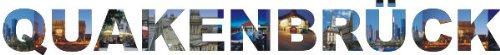 PEMA INDIGOS UG - Wandtattoo Wandsticker Wandaufkleber - Aufkleber farbige Wandschrift Städtename Städtename Quakenbrück mit Sehenswürdigkeiten 120 x 13 cm Länge