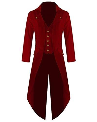 Chaqueta Retro de Mujer Steampunk de Abrigo Largo Gótico Elegantes Esmoquin Rojo XL