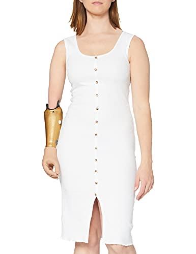 Marca Amazon - find. Vestido Midi Ajustado de Punto Mujer, Blanco (White), 40, Label: M