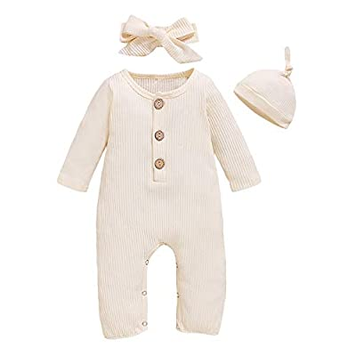 Amazon - Save 40%: TrulyBee Baby Girl Solid Color Romper Infant Cotton Jumpsuit with Hat and Hea…