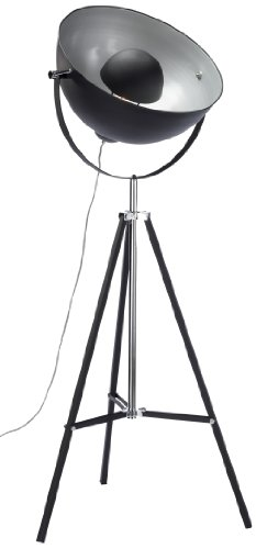 Kare Design Stehleuchte Bowl Black, moderne Stehlampen, Dreibein Wohnzimmerlampe, Studiolampe E27, Design Stehleuchte, schwarz-silber (H/B/T) 160x70x70cm