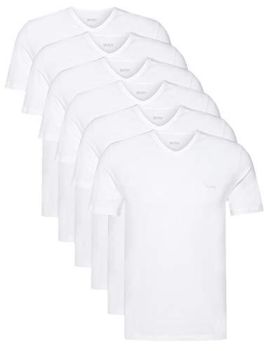 Hugo Boss Herren T-Shirts Business Shirts V-Neck 50325389 6er Pack, Farbe:Weiß;Größe:XL;Artikel:-100 White