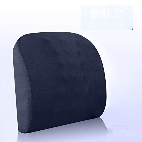 ZFLL kussen Ergonomisch ontwerp Lumbar ondersteuning Memory Foam Massager onderrug ondersteuning kussen auto stoel bureaustoel zachte taille kussen kussen, donkerblauw, 40x33x10cm