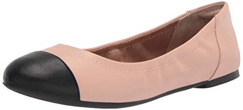 Amazon Essentials Gorra de Mujer Ballet Bailarinas Planas, Beige PU/Negro PU, 38...