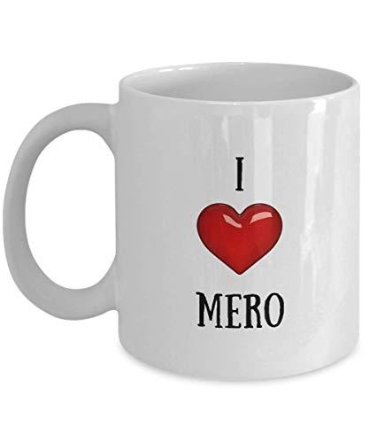 N\A Taza de I Love Mero - Taza de café Personalizada - Regalos con Nombre Personalizado - Taza de cerámica con corazón de Novedad Personalizada - Blanco