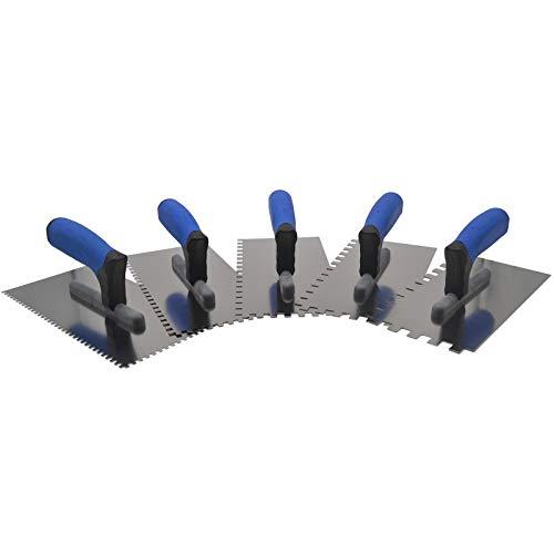 DEWEPRO® 5-teiliges Zahnkellen-Set Modell PROFI III - Glättekelle gezahnt - Zahnung: 4x4mm, 6x6mm, 8x8mm, 10x10mm und 12x12mm