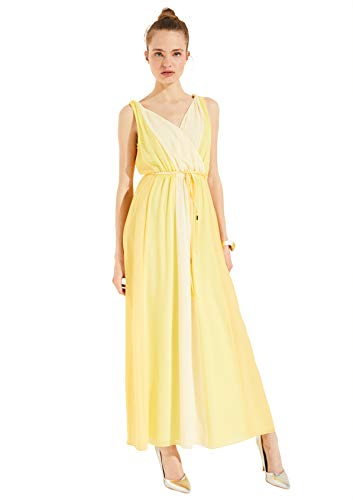 Comma 8E.095.81.3084 Kleid Damen, Gelb (1350 Lemon), 38 EU