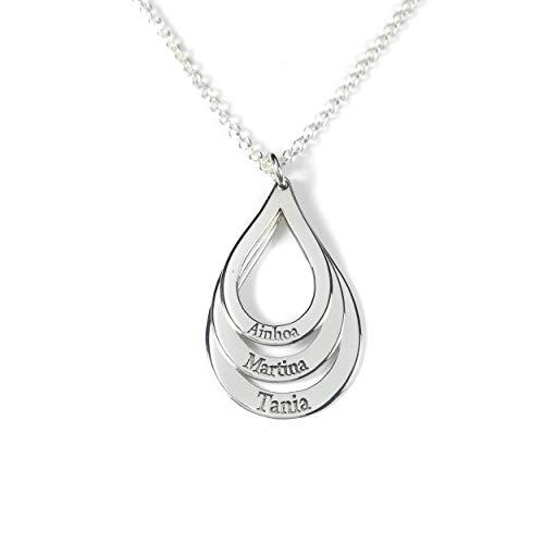 Collar tres aros forma gota con nombres personalizados en plata de ley 925.-RINCONDELARTESANO.ES