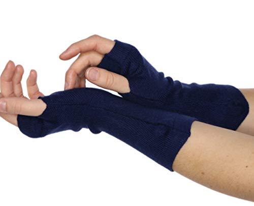 prettystern Cachemire Lana Donna guanti senza dita Manicotti Polsini Scaldabraccia Cashmere Blu