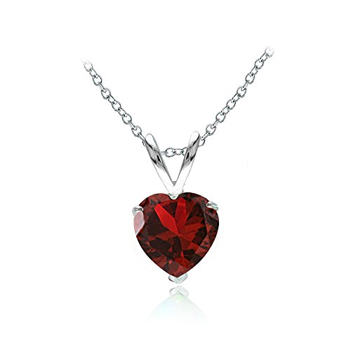 Ice Gems Sterling Silver Created Ruby 7mm Heart Solitaire Necklace