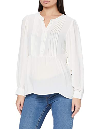 MAMALICIOUS MLAMINA Lia L/S Woven Top 2F A. Blusas, Blanco Nieve, XL para Mujer