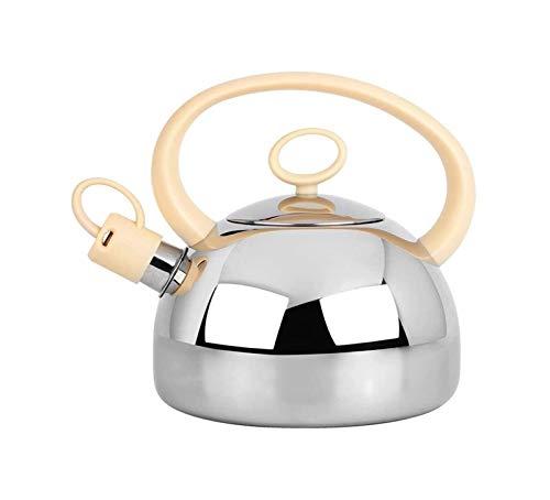 Kettle de silbato portátil Shovetop de acero inoxidable Silbidos de inducción Kettle Dispensador de agua caliente Hervir rápido fácil de limpiar Botella de agua de viaje adecuada para camping fam